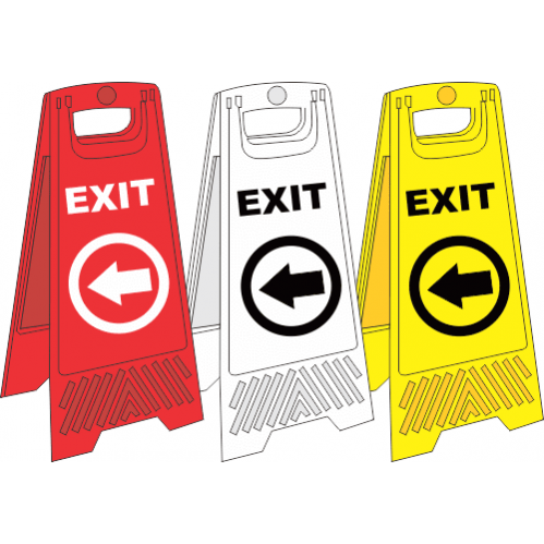 FS33 - Temporary Exit Left A-Frame Floor Stand - Yellow, White and Red