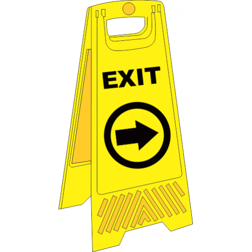 FS34 - Temporary Exit Right A-Frame Floor Stand - Yellow