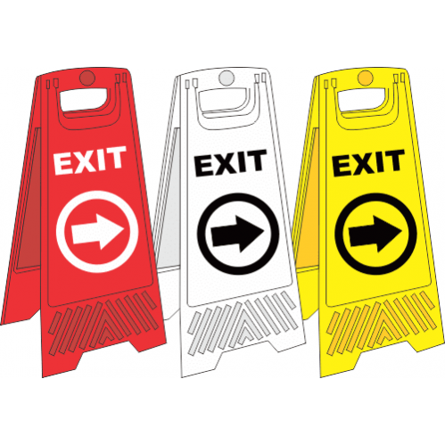 FS34 - Temporary Exit Right A-Frame Floor Stand - Yellow, White and Red