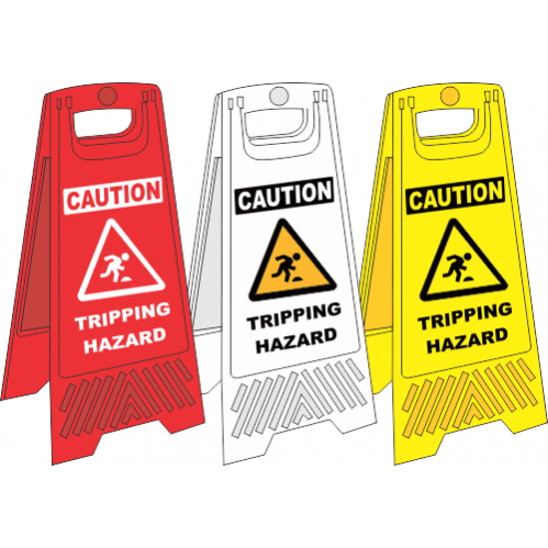 FS29 - Tripping Hazard A-Frame Floor Stand - Yellow, White and Red