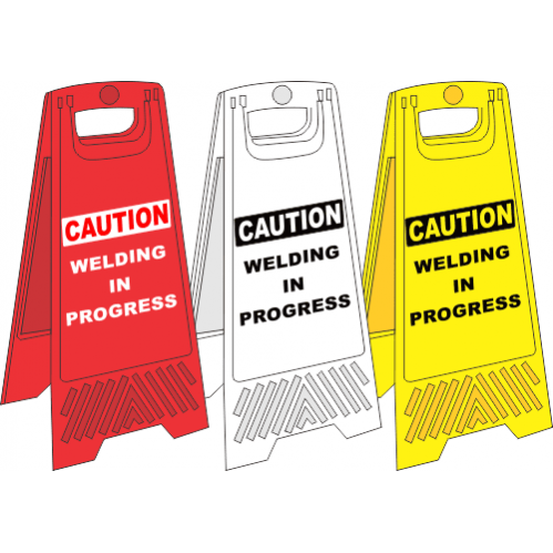 FS23 - Welding In Progress A-Frame Floor Stand - Yellow, White and Red