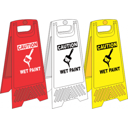 FS13 - Wet Paint A-Frame Floor Stand - Yellow, White and Red