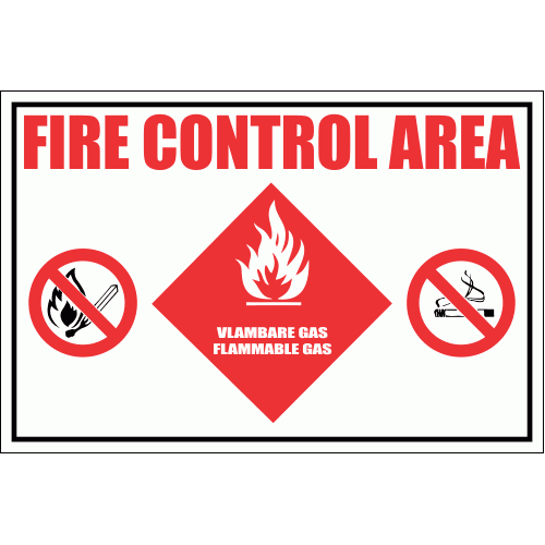GAS28 - Fire Control Area - Flammable Gas Sign