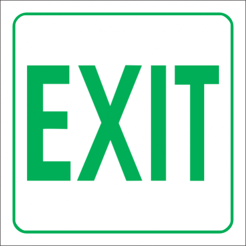 Exit (Green) Safety Sign - GA33