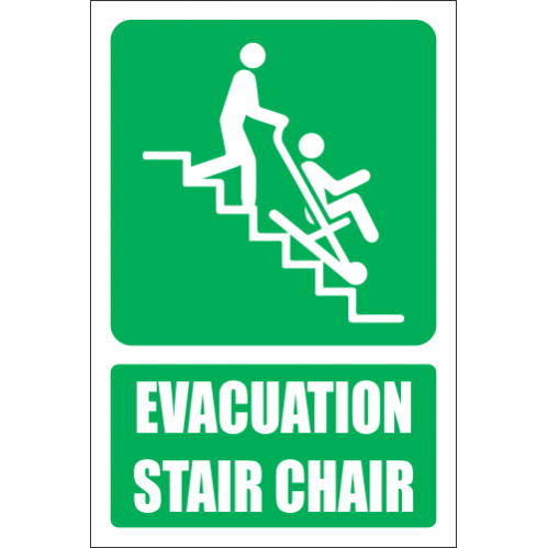 Evacuation Stair Chair Explanatory Safety Sign - GA36