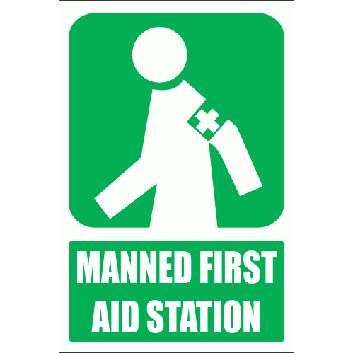 GA5E - Manned First Aid Station Explanatory Sign