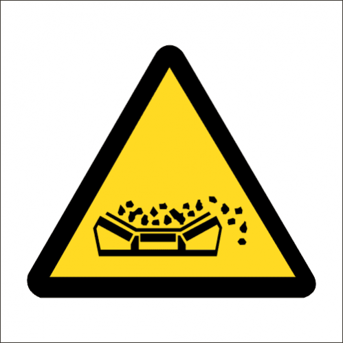 WW21 - SABS Material Falling From Conveyor Belt Safety Sign