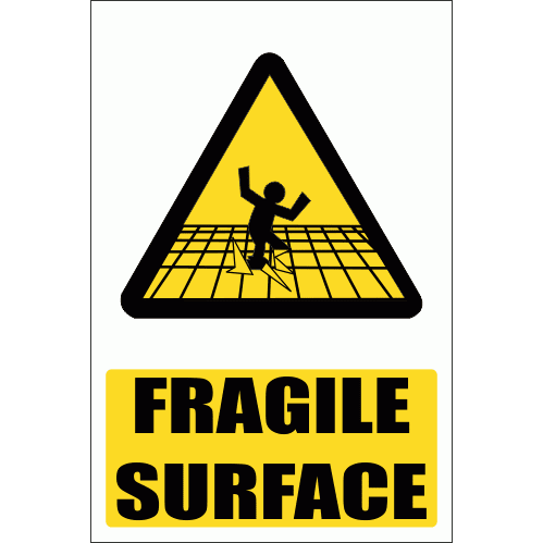 WW10E - Fragile Surface Explanatory Safety Sign