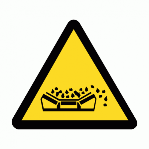 WW21 - Material Falling From Conveyor Belt Safety Sign