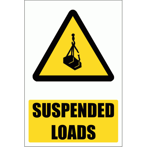 WW8E - Suspended Loads Hazard Explanatory Safety Sign
