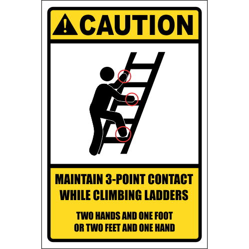 LD8 - Caution 3 Point Contact Sign