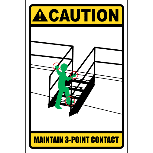 LD2 - Caution 3 Point Contact Sign