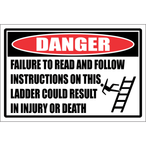 LD28 - Danger Permission To Use Ladder Sign