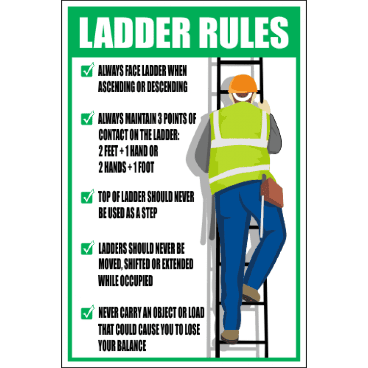 Ld20 Ladder Rules Sign Safety Signs Amp Equipment