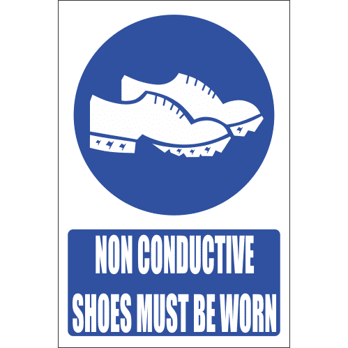 MV27E - Conductive Shoes Explanatory Safety Sign
