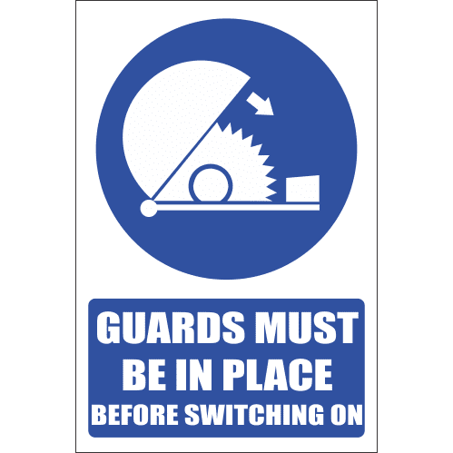 MA9E - Guards Must Be Used Explanatory Safety Sign