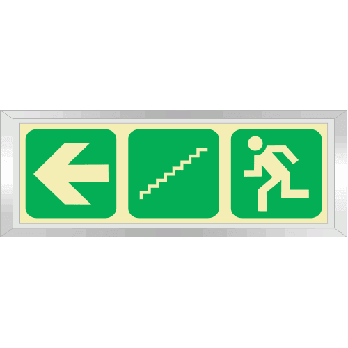PLE10FD - Framed (Double Sided) Emergency Stairs Left Down Photoluminescent Sign (Glow-In-The-Dark)