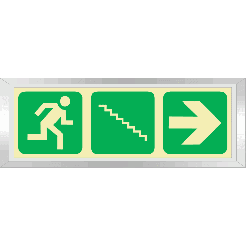 PLE9FD - Framed (Double Sided) Emergency Stairs Right Down Photoluminescent Sign (Glow-In-The-Dark)