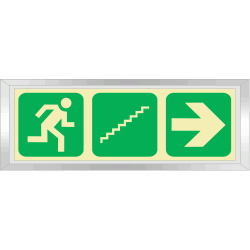 PLE11FS - Framed (Single Sided) Emergency Stairs Right Up Photoluminescent Sign (Glow-In-The-Dark)
