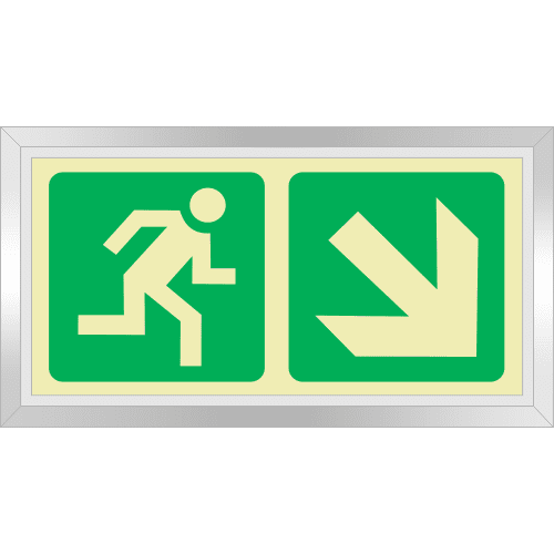 PLE7FD - Framed (Double Sided) Escape Route Down Right Photoluminescent Sign (Glow-In-The-Dark)