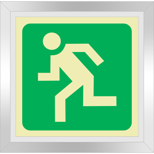 PLE23FD - Framed (Double Sided) Escape Route Left Photoluminescent Sign (Glow-In-The-Dark)