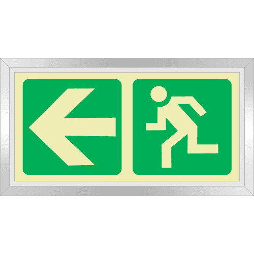PLE2FD - Framed (Double Sided) Escape Route Left Photoluminescent Sign (Glow-In-The-Dark)