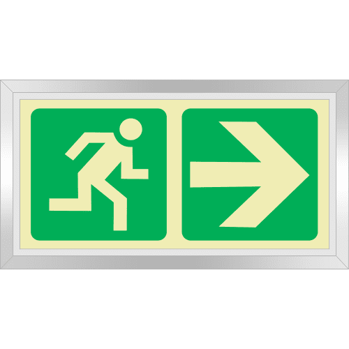 PLE1FS - Framed (Single Sided) Escape Route Right Photoluminescent Sign (Glow-In-The-Dark)
