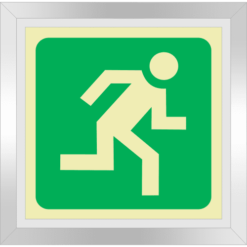 PLE24FD - Framed (Double Sided) Escape Route Right Photoluminescent Sign (Glow-In-The-Dark)