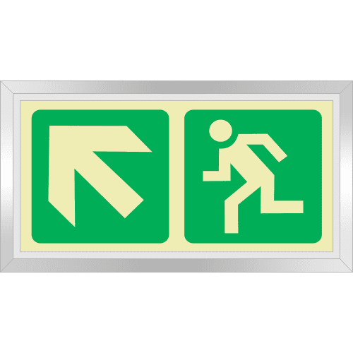 PLE6FD - Framed (Double Sided) Escape Route Up Left Photoluminescent Sign (Glow-In-The-Dark)