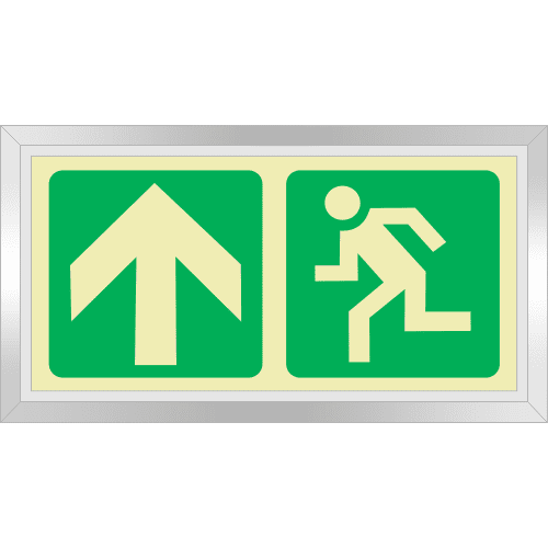 PLE4FS - Framed (Single Sided) Escape Route Up Photoluminescent Sign (Glow-In-The-Dark)