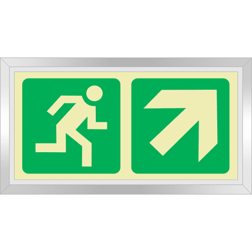 PLE5FD - Framed (Double Sided) Escape Route Up Right Photoluminescent Sign (Glow-In-The-Dark)