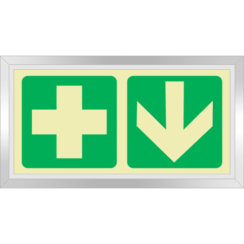 PLE21FS - Framed (Single Sided) First Aid Ahead Photoluminescent Sign (Glow-In-The-Dark)