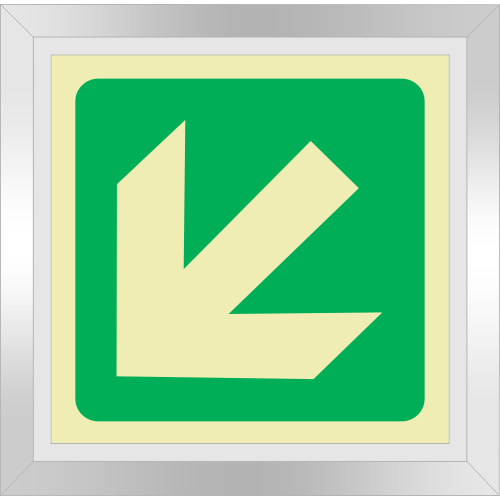 PLE16FD - Framed (Double Sided) General Direction Down Left Photoluminescent Sign (Glow-In-The-Dark)