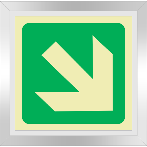 PLE17FS - Framed (Single Sided) General Direction Down Right Photoluminescent Sign (Glow-In-The-Dark)