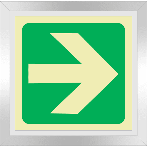 PLE13FD - Framed (Double Sided) General Direction Right Photoluminescent Sign (Glow-In-The-Dark)