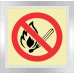 F26 - No Open Or Naked Flames Photoluminescent Sign (Glow In The Dark)