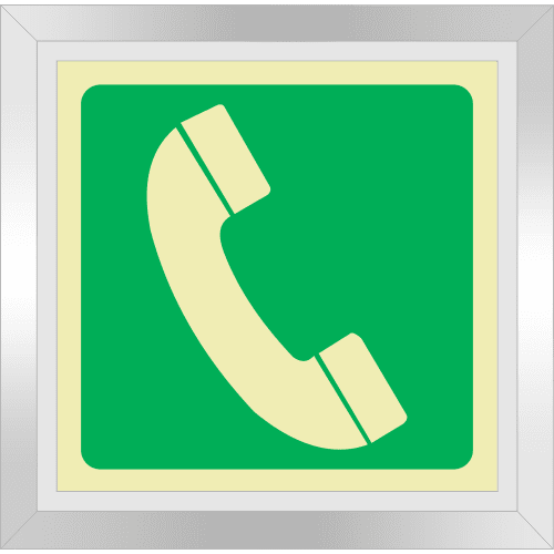 PLE18FD - Framed (Double Sided) Telephone Potoluminescent Sign (Glow-In-The-Dark)