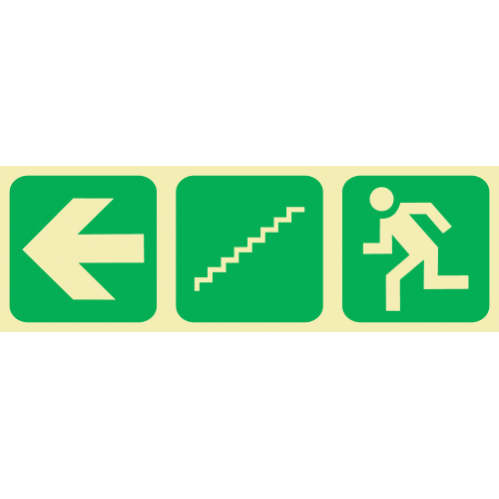 E17 - Arrow Left & Stairs Going Down & Running Man Photoluminescent Sign (Glow In The Dark)
