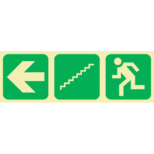 PLE10 - Emergency Stairs Left Down Photoluminescent Sign (Glow-In-The-Dark)