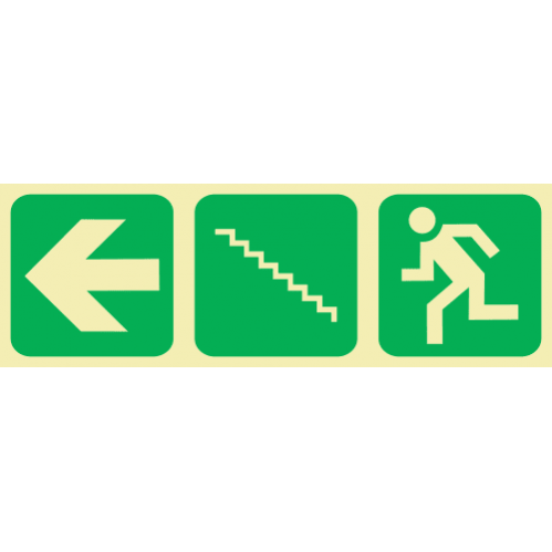 E19 - SABS Arrow Left & Stairs Going Up & Running Man Photoluminescent Sign (Glow In The Dark) - 190x570mm