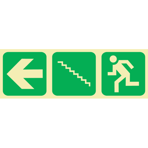 PLE12 - Emergency Stairs Left Up Photoluminescent Sign (Glow-In-The-Dark)