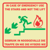 F54 - Emergency Stairs Left Photoluminescent Sign (Glow In The Dark)