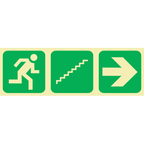 E18 - Running Man & Stairs Going Up & Arrow Right Photoluminescent Sign (Glow In The Dark)