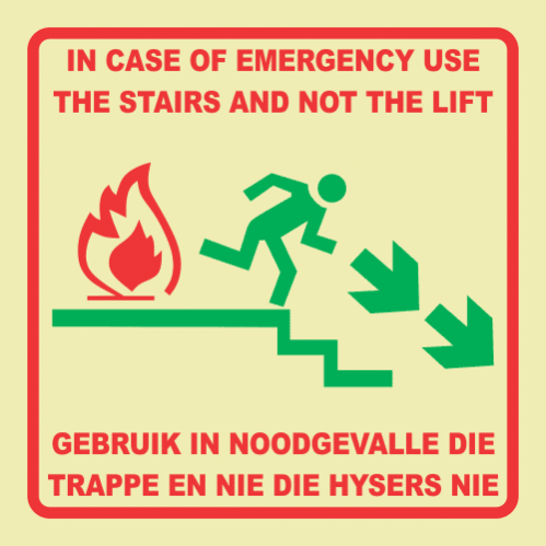 F53 - Emergency Stairs Right Photoluminescent Sign (Glow In The Dark)