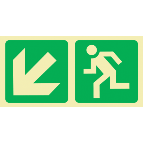 E14 - SABS Diagonal Arrow Down & Left & Running Man Photoluminescent Sign (Glow In The Dark) - 190x380mm