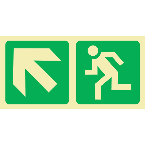 PLE6 - Escape Route Up Left Photoluminescent Sign (Glow-In-The-Dark)