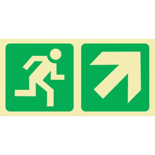 E11 - Running Man & Diagonal Arrow Up & Right Photoluminescent Sign (Glow In The Dark)