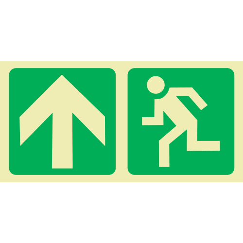 PLE4 - Escape Route Up Photoluminescent Sign (Glow-In-The-Dark)