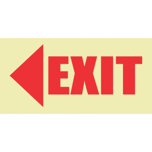 E5 - SABS Arrow Left & Exit Photoluminescent Sign (Glow In The Dark) - 190x380mm