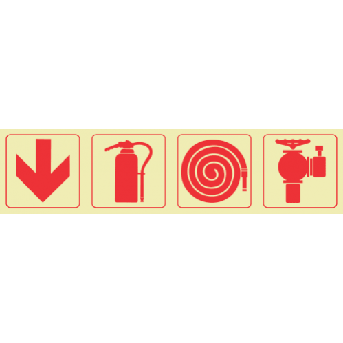 F1 - Arrow Down & Fire Extinguisher & Fire Hose Reel & Fire Hydrant Photoluminescent Sign (Glow In The Dark)